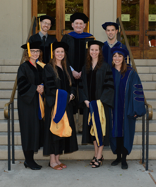 At the commencement ceremony. Left to right, top to bottom: Tyler Lee, Bob Knight, Ben Kallman, Alina Liberman, Courtney Gallen, Matar Haller, and Claire Oldfield.