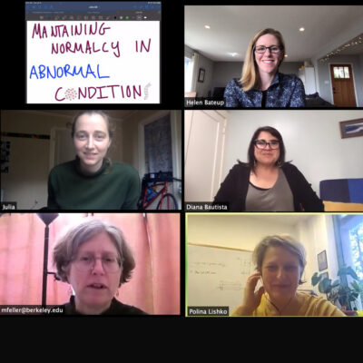 Screenshot from Neuroscience PhD student Julia Bleier's qualifying exam, held remotely in March 2020 due to the pandemic. Pictured with Julia are her committee members: HWNI members Helen Bateup, Diana Bautista, and Marla Feller, and HWNI collaborator Polina Lishko.